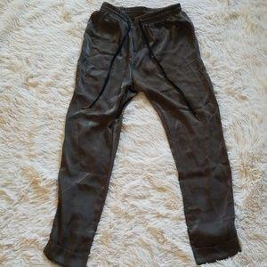 Satin Olive Green Jogger Pants